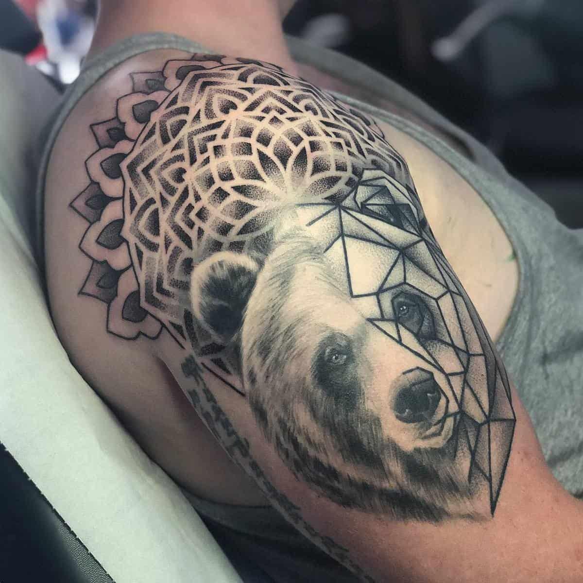 Geometric Black Bear Tattoo parispamelatattoo
