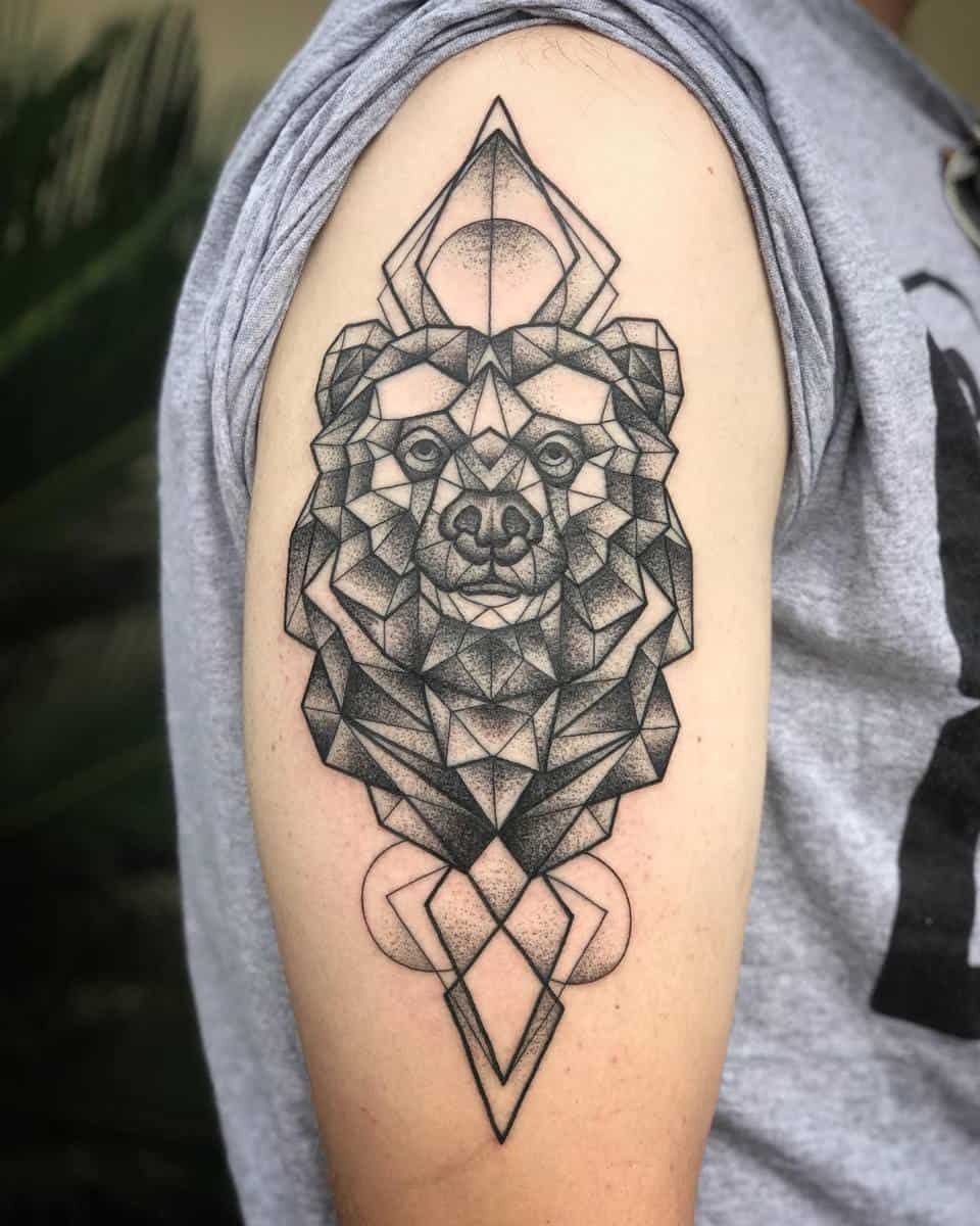 Geometric Black Bear Tattoo tattoosby_ursula
