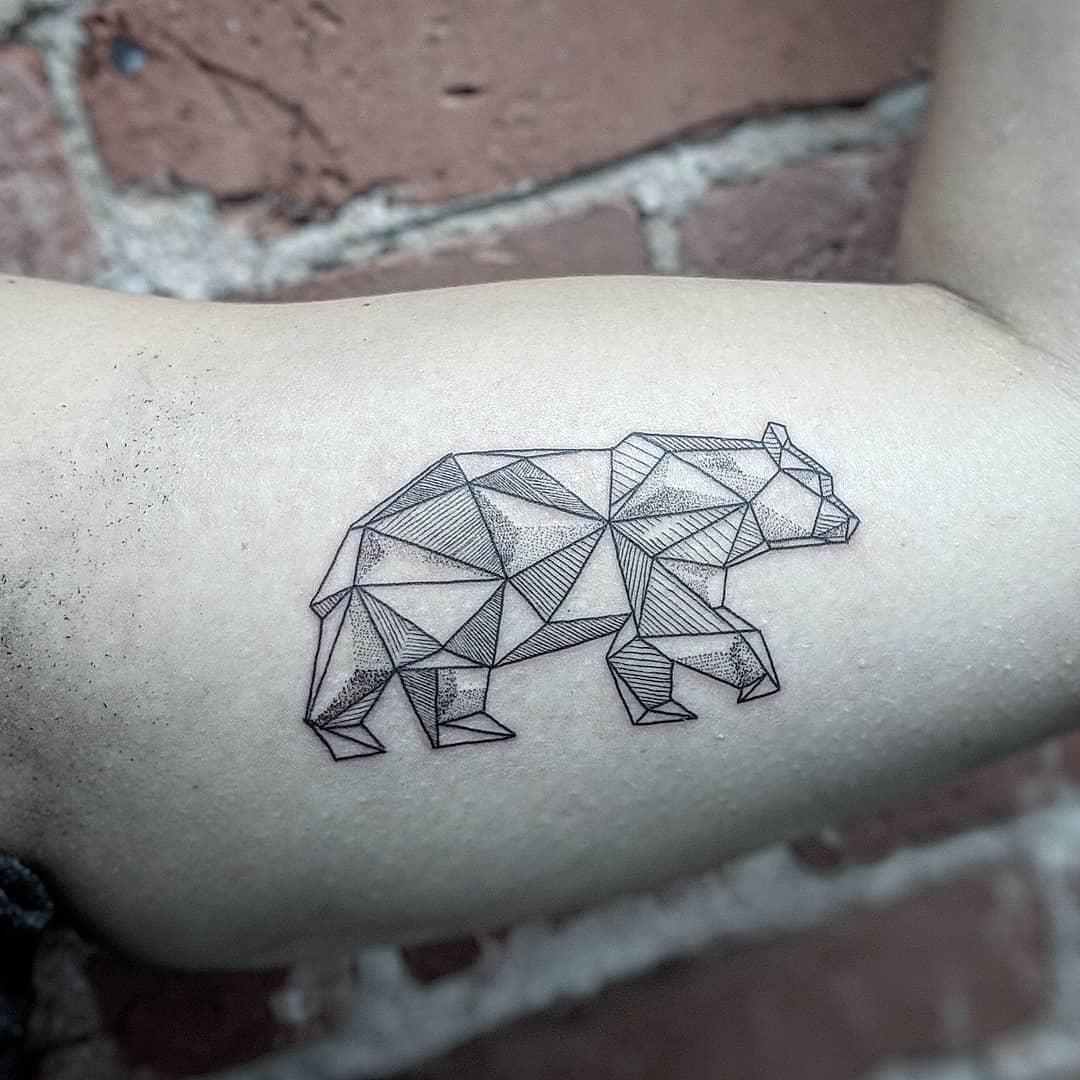 Geometric Black Bear Tattoo wearingthewolf