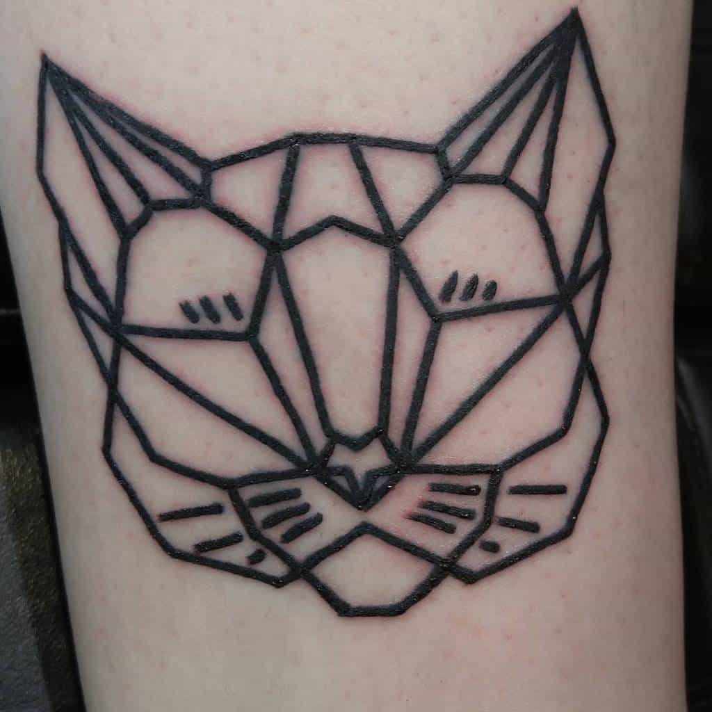 Geometric Cat Outline Tattoo dsilver_tattoo