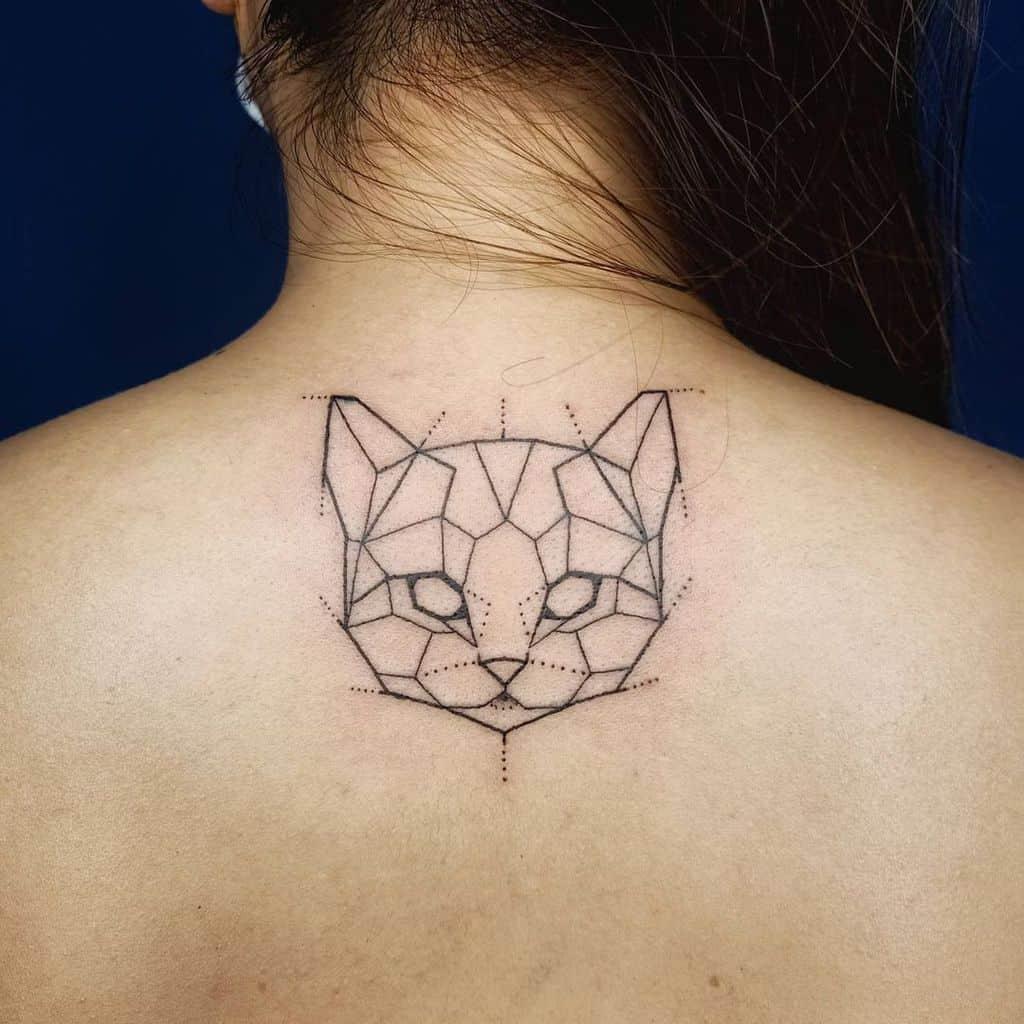Geometric Cat Outline Tattoo eric.artetattoo