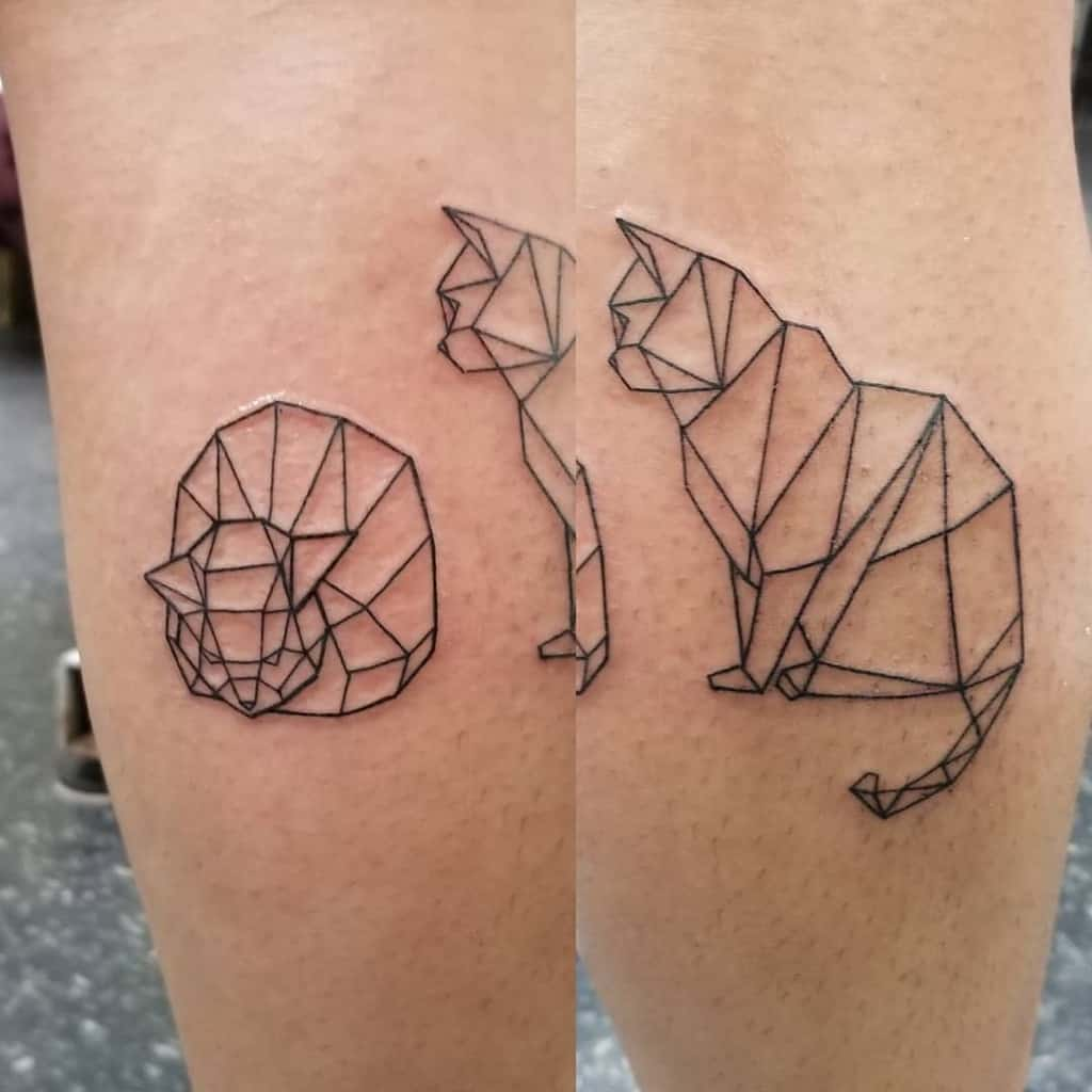 Geometric Cat Outline Tattoo inkybynature