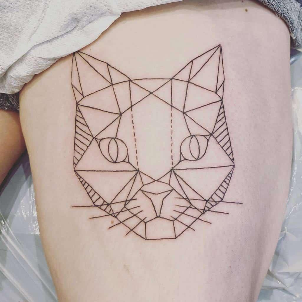 Geometric Cat Outline Tattoo k8tattoos