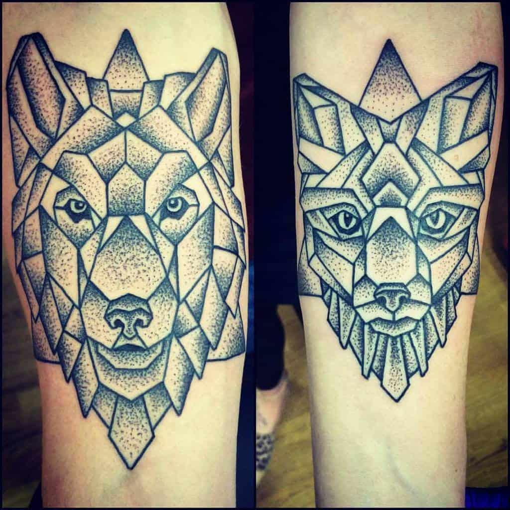 Geometric Fox Dotwork Tattoo jq_1991