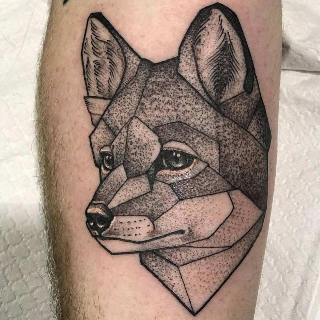 Geometric Fox Dotwork Tattoo thirteenfeettattoo