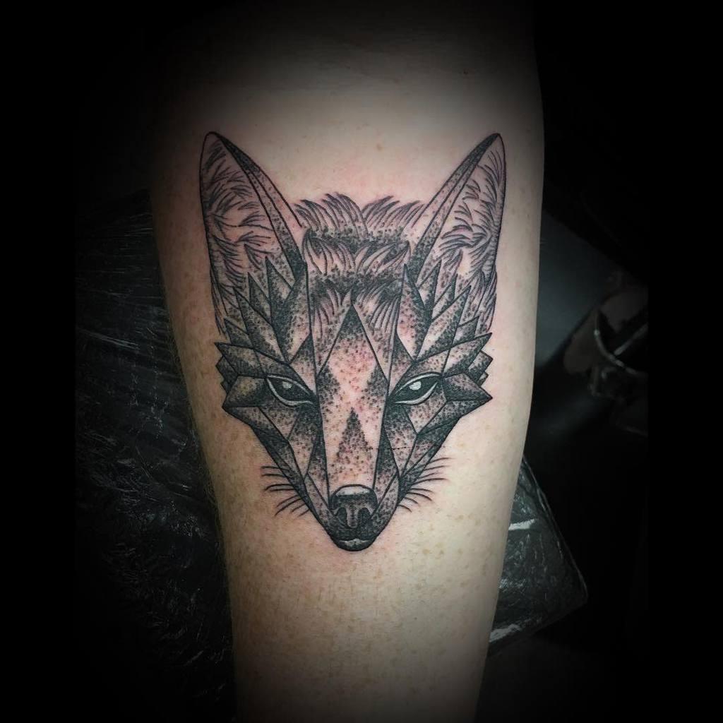 Geometric Fox Dotwork Tattoo thrashaaatattoojsy