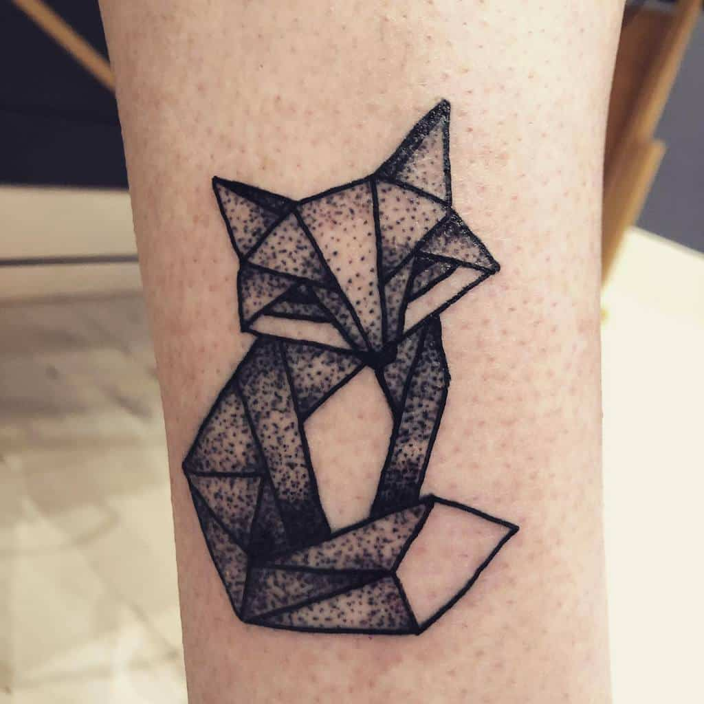 Geometric Fox Dotwork Tattoo waywardwomantattoos