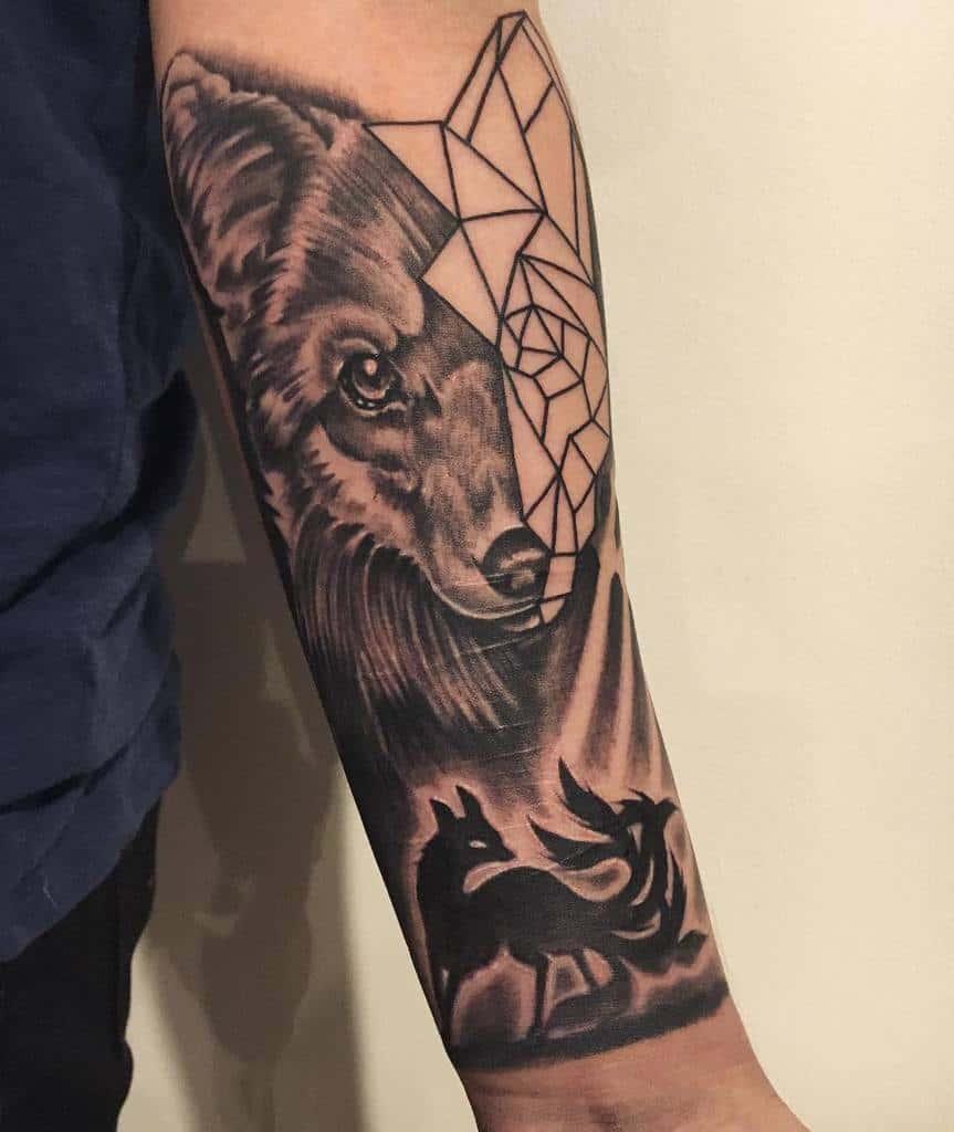 Geometric Fox Forearm Tattoo dasangyounzon