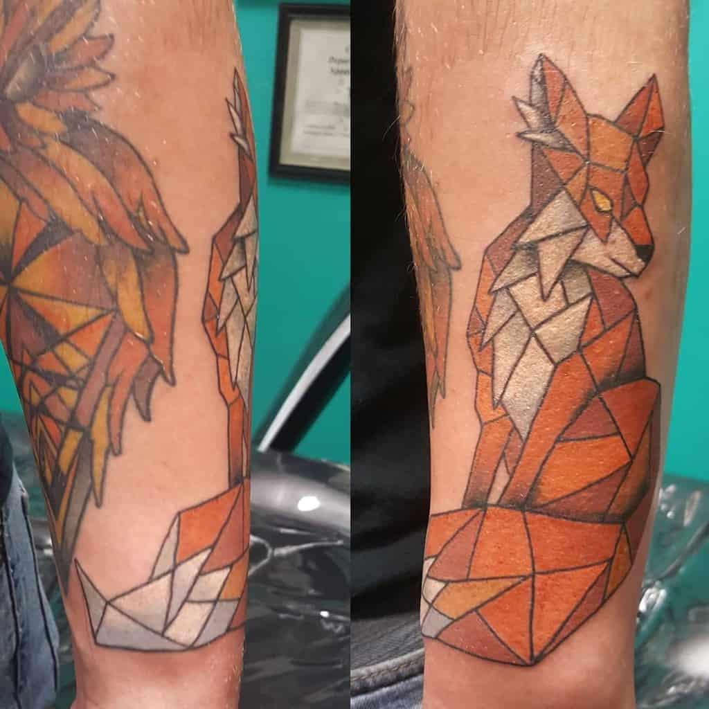 Geometric Fox Forearm Tattoo timwouldtattoo