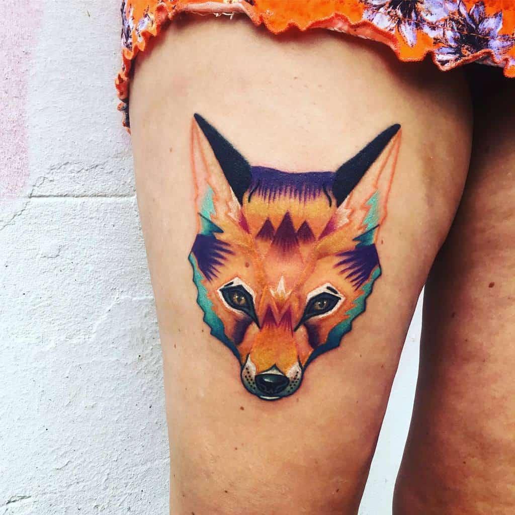 Geometric Fox Thigh Tattoo badja_tattoo