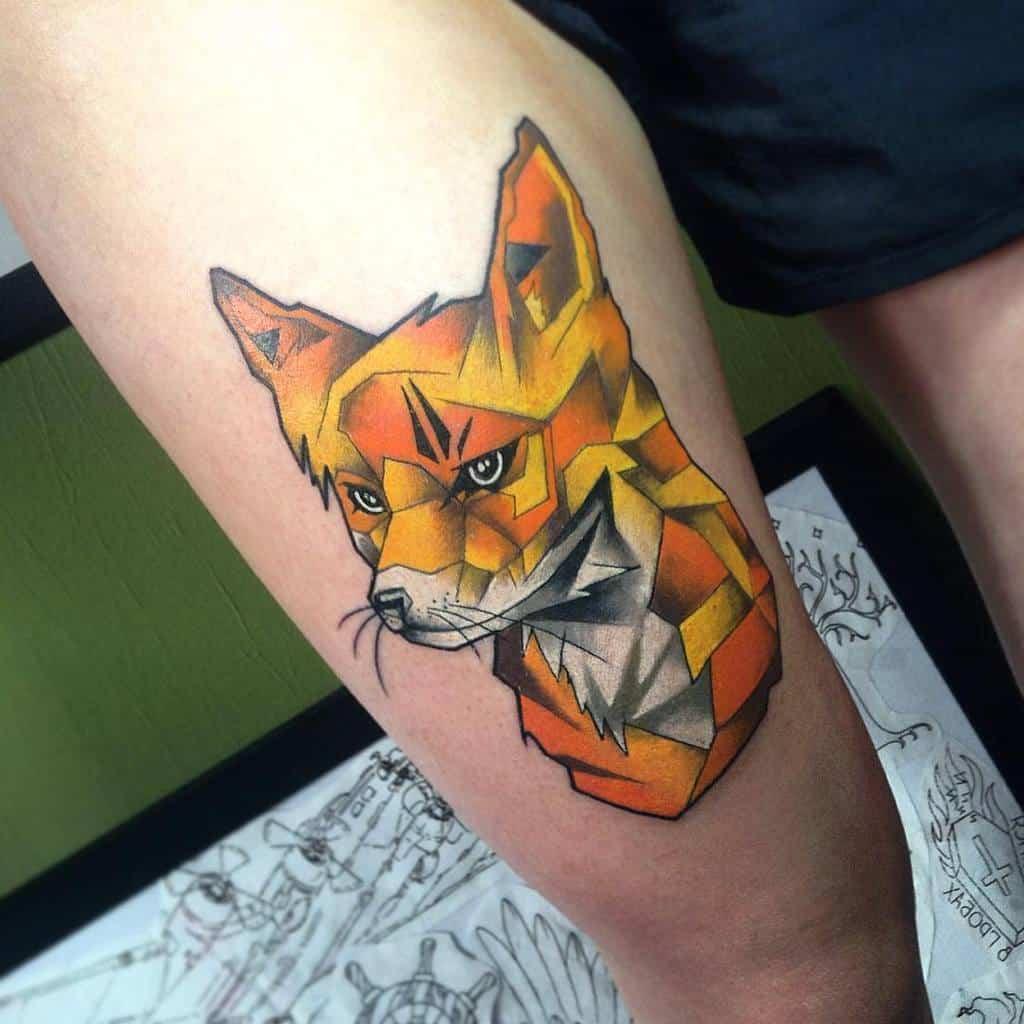 Geometric Fox Thigh Tattoo dmitryiblackcode