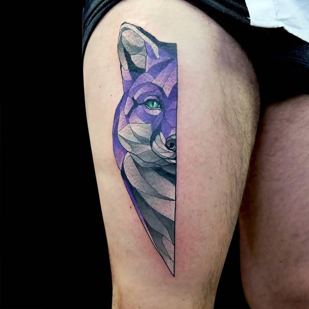 Geometric Fox Thigh Tattoo dustyduza
