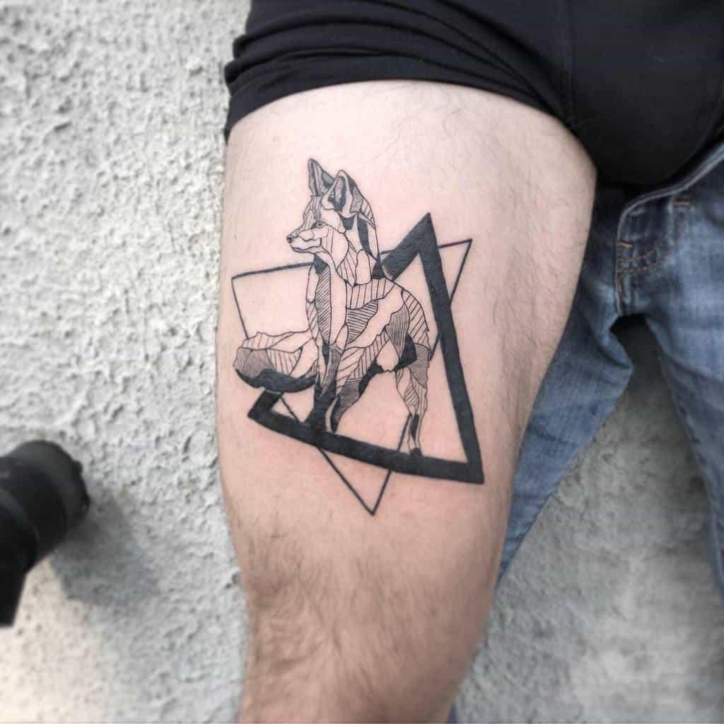 Geometric Fox Thigh Tattoo emily_hontattoo
