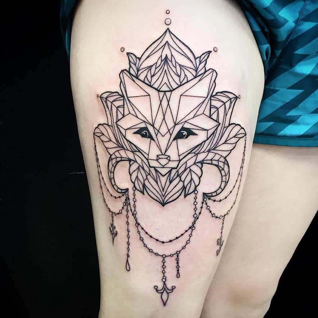 Geometric Fox Thigh Tattoo kaiaelise