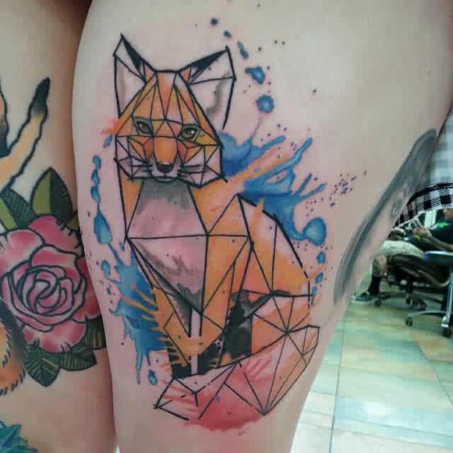 Geometric Fox Thigh Tattoo larkin181