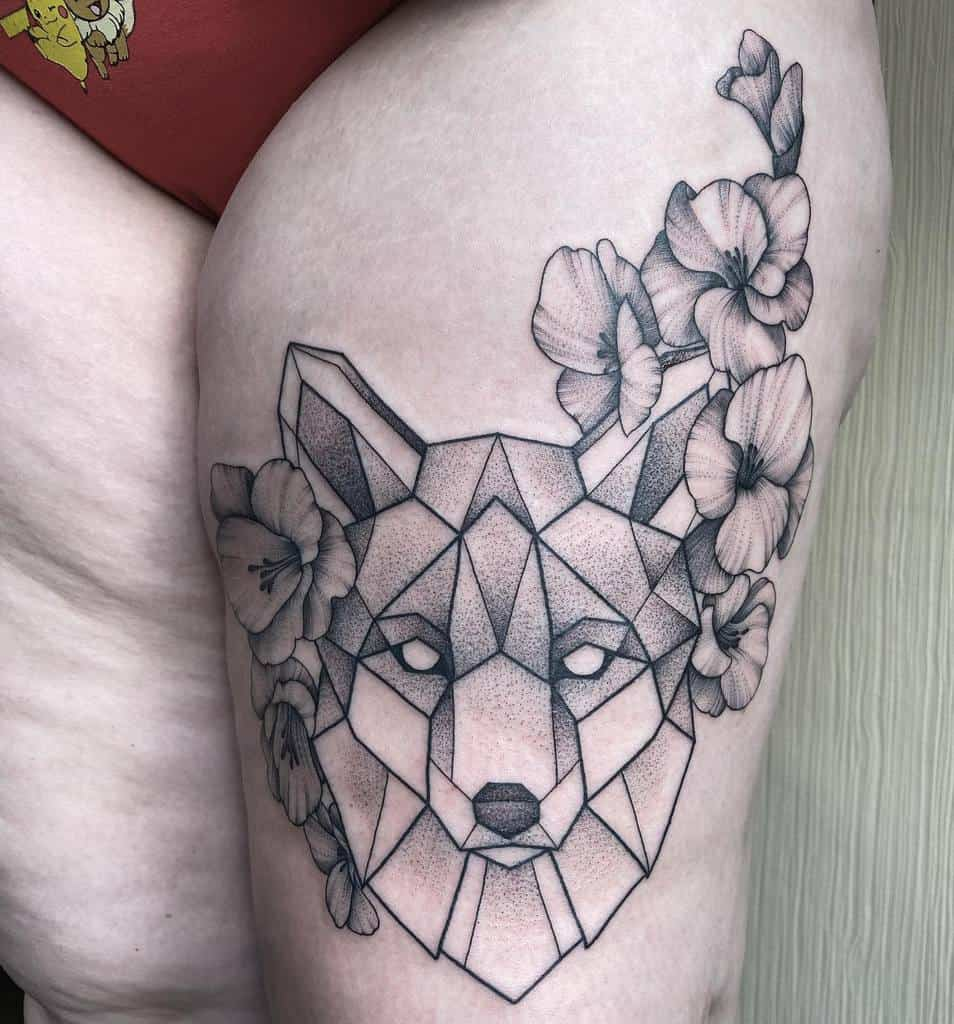 Geometric Fox Thigh Tattoo muriel_mortal