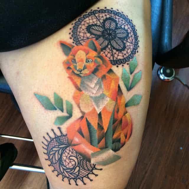 Geometric Fox Thigh Tattoo olivetattoos