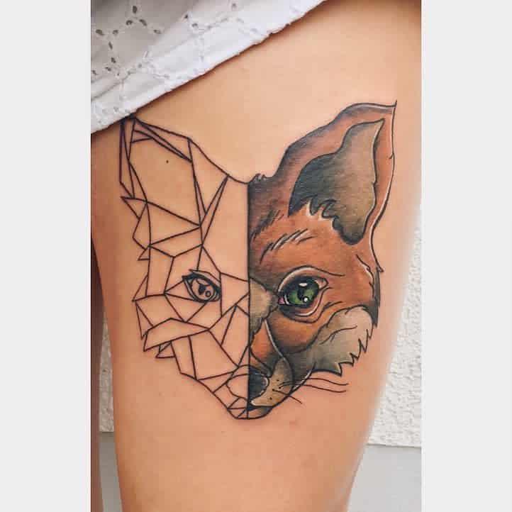 Geometric Fox Thigh Tattoo vivvy.ink