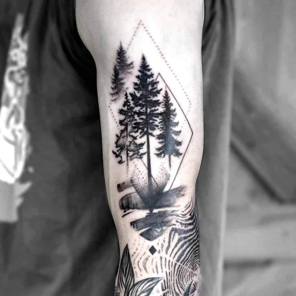Geometric Tree Silhouette Tattoo emmagracetattoo