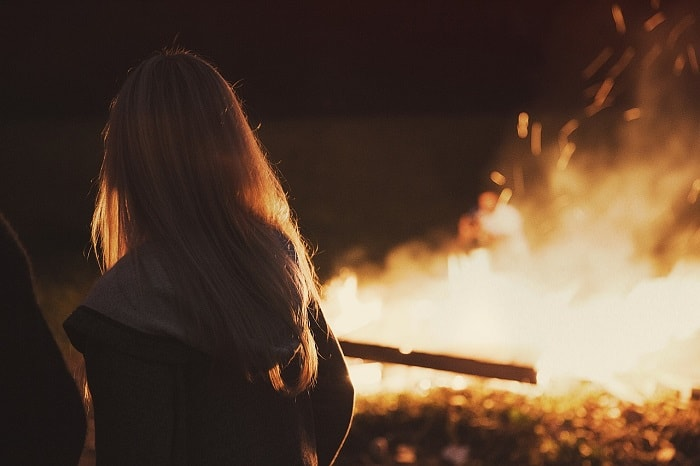 Girl Next To Bonfire