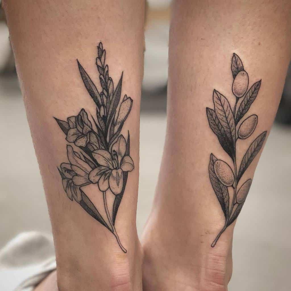 Gladiolus Flower Ankle Tattoo barbielongfox