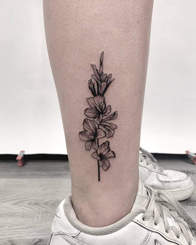 Gladiolus Flower Ankle Tattoo felicia_lozoya