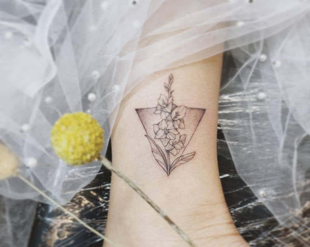 Gladiolus Flower Ankle Tattoo yshiww