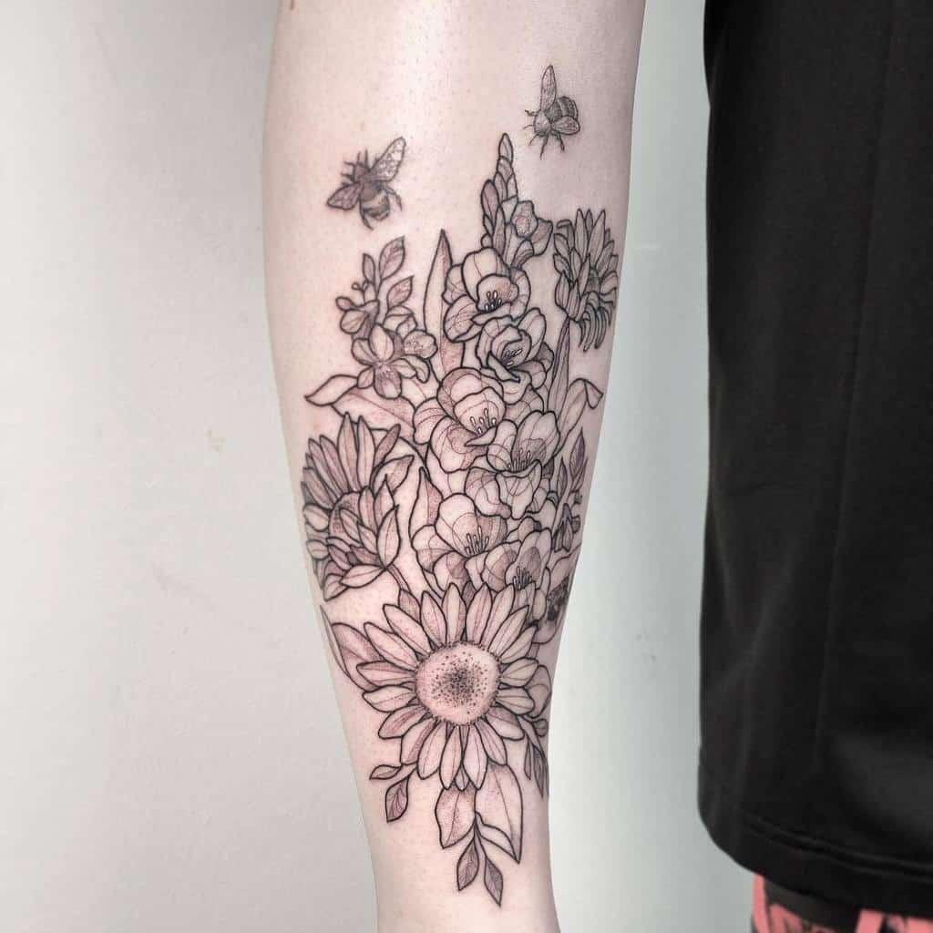 Gladiolus Flower Forearm Tattoo elsetattoo