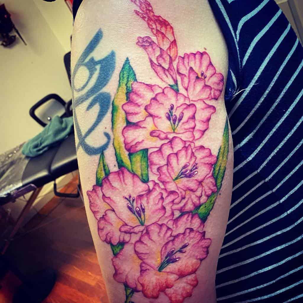 Gladiolus Flower Shoulder Tattoo 2 starby5