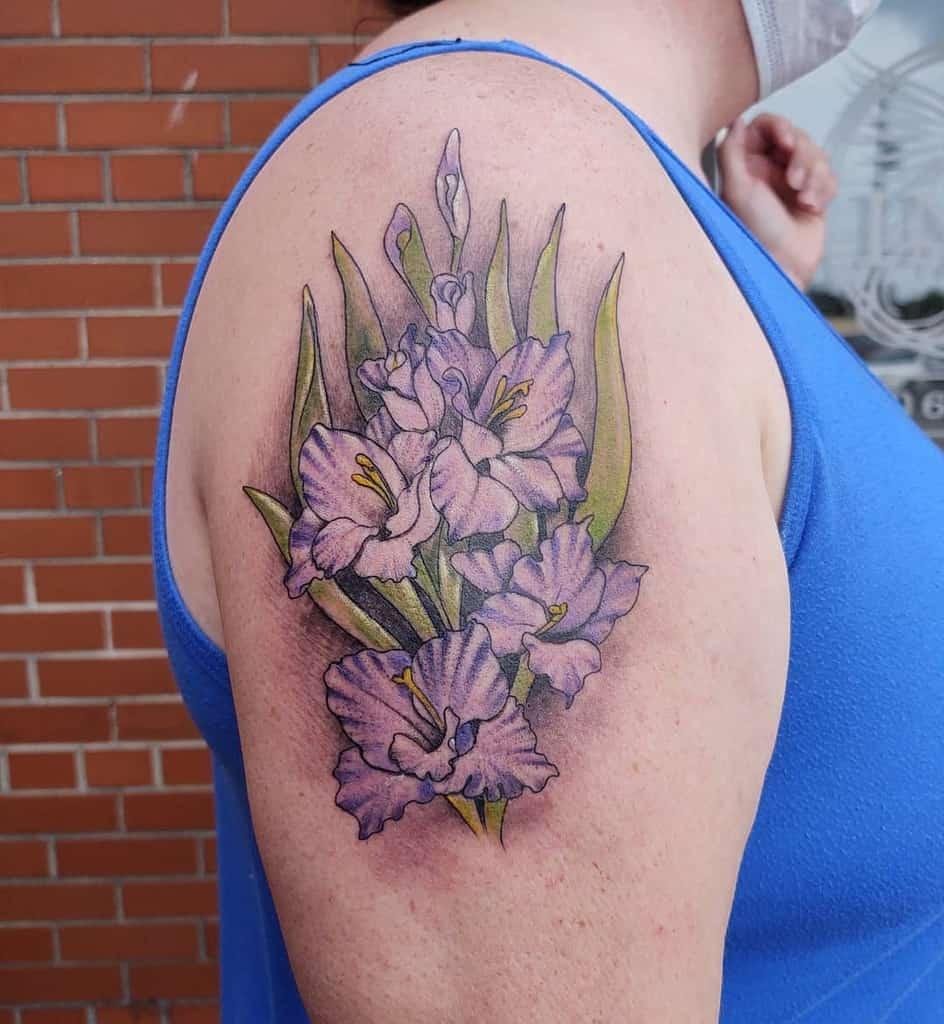 Gladiolus Flower Shoulder Tattoo artist_martinez
