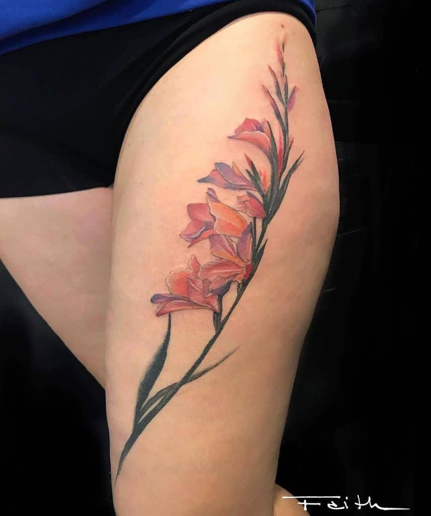 Gladiolus Flower Thigh Tattoo faith.tattoo