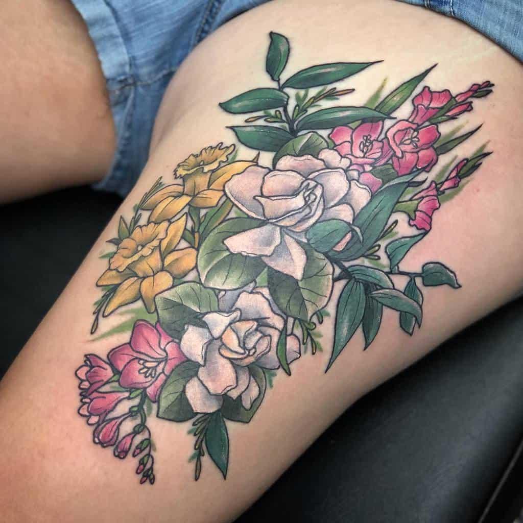 Gladiolus Flower Thigh Tattoo mizmeltattoos