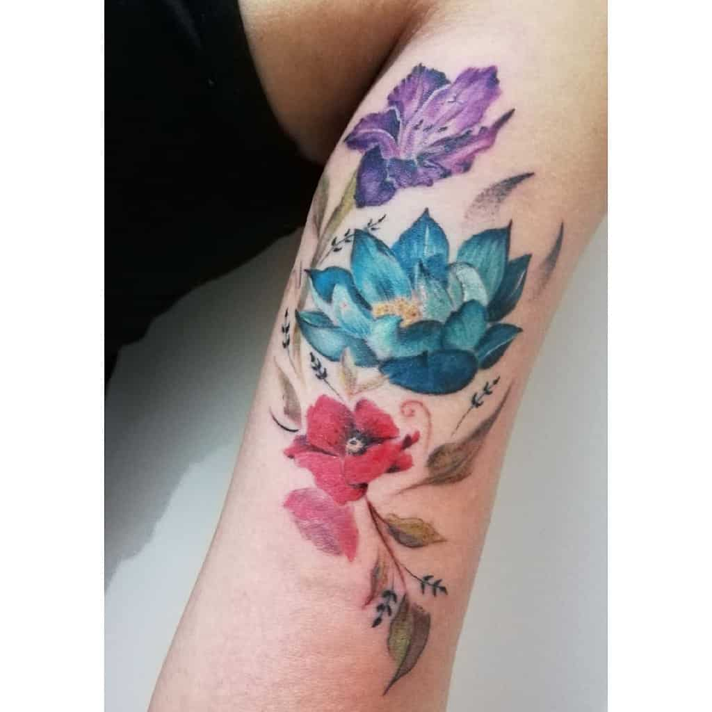 Gladiolus Flower Upperarm Tattoo laura.moth