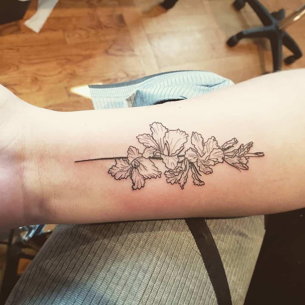 Gladiolus Flower Wrist Tattoo captainthumbs