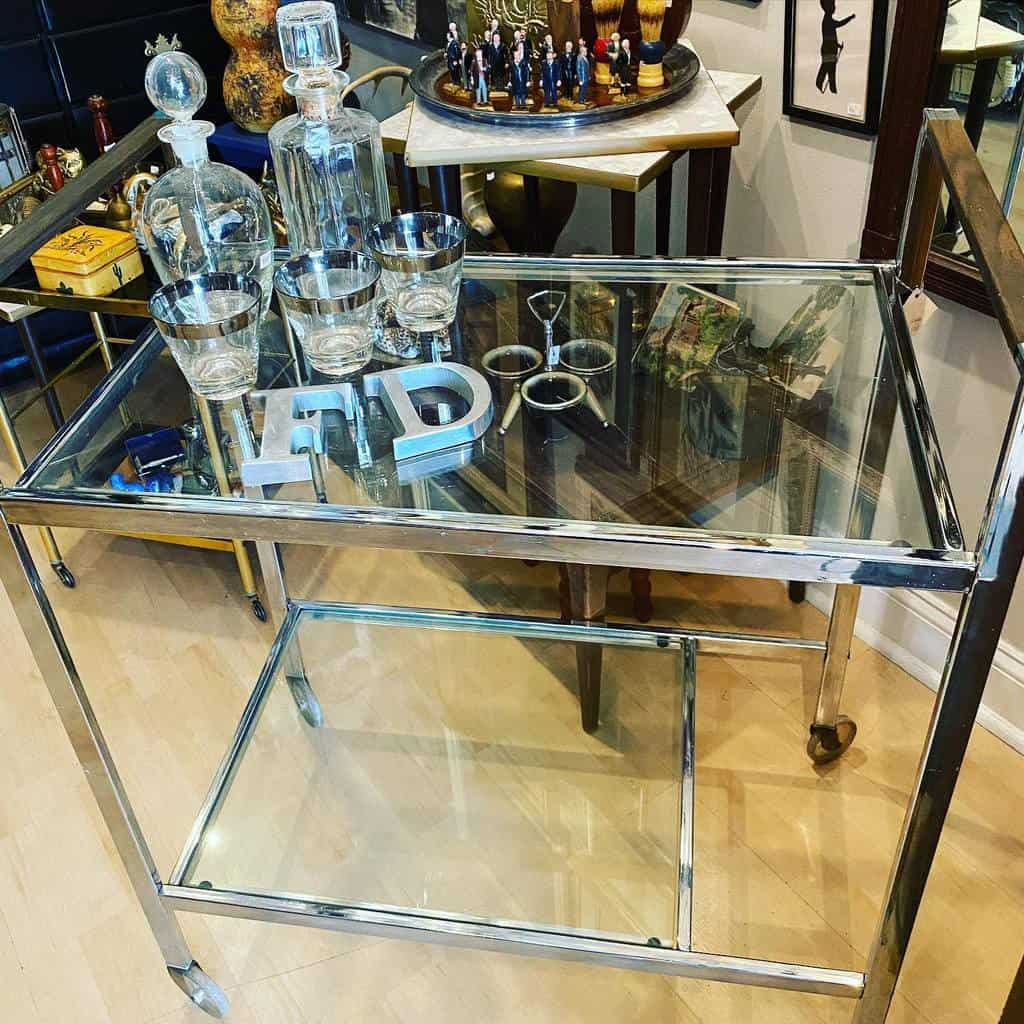 Glass Bar Cart Ideas -cluttervintageshop