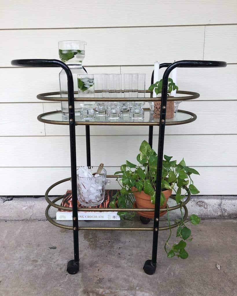 Glass Bar Cart Ideas -evergreenhomegoods