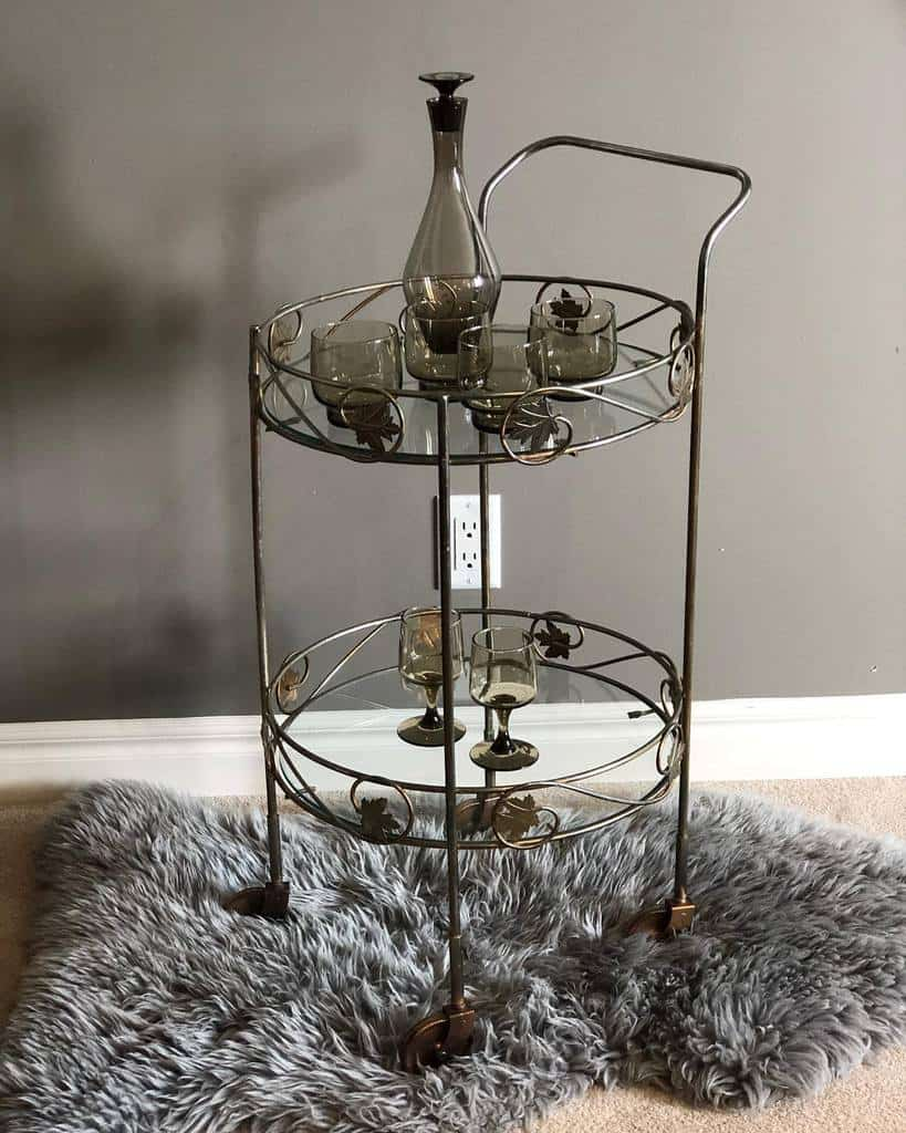 Glass Bar Cart Ideas -prettyvintagefurnitureyyc