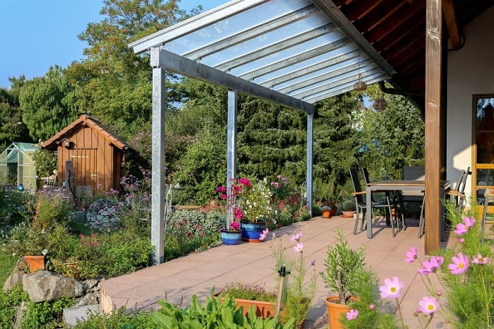 Glass patio awning