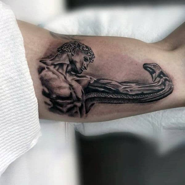 Greek God Strangling Snake Tattoo Male Inner Biceps
