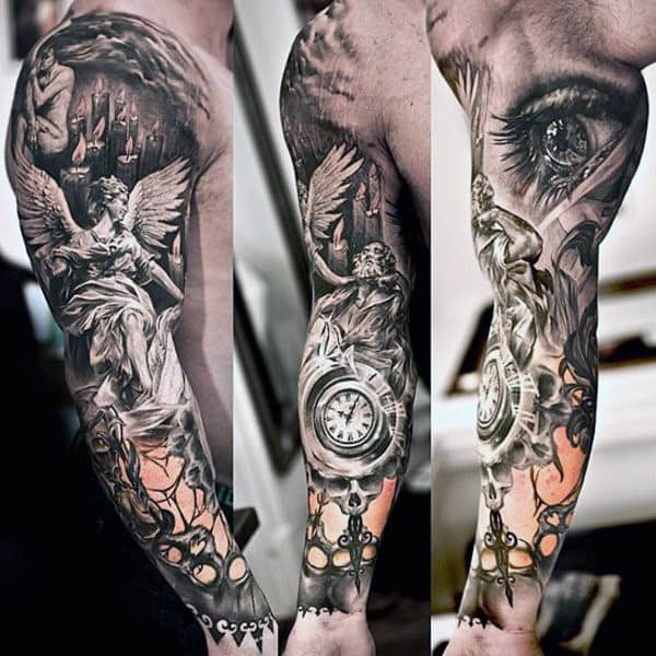 Guardian Angel Time Piece Amd Eye Tattoo For Men Sleeves