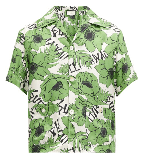 Gucci Cuban-Collar Floral Silk Shirt