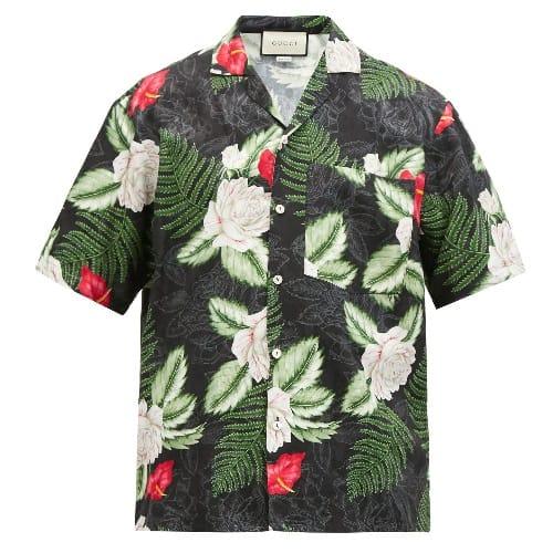 Gucci Foliage-print Bowling Shirt