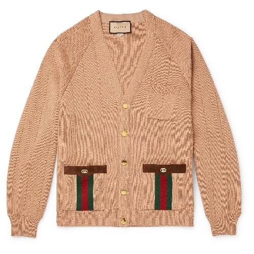 Gucci-Horsebit-Suede-and-Webbing-Trimmed-Wool-Blend-Cardigan