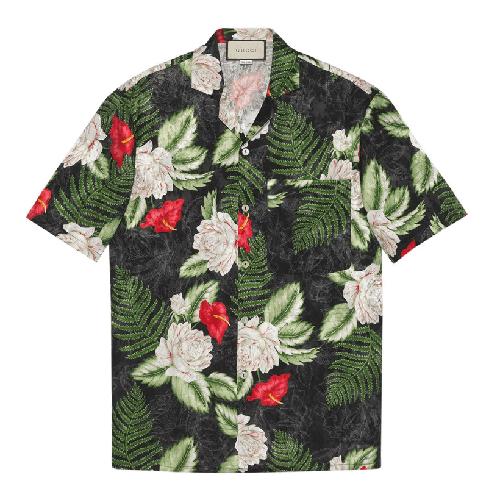 Gucci Leaf-Print Short Sleeve Shirt
