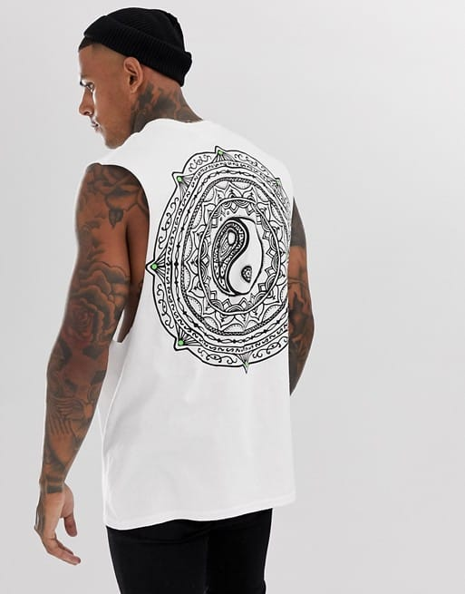 hnr ldn ying yang back print sleeveless t-shirt vest
