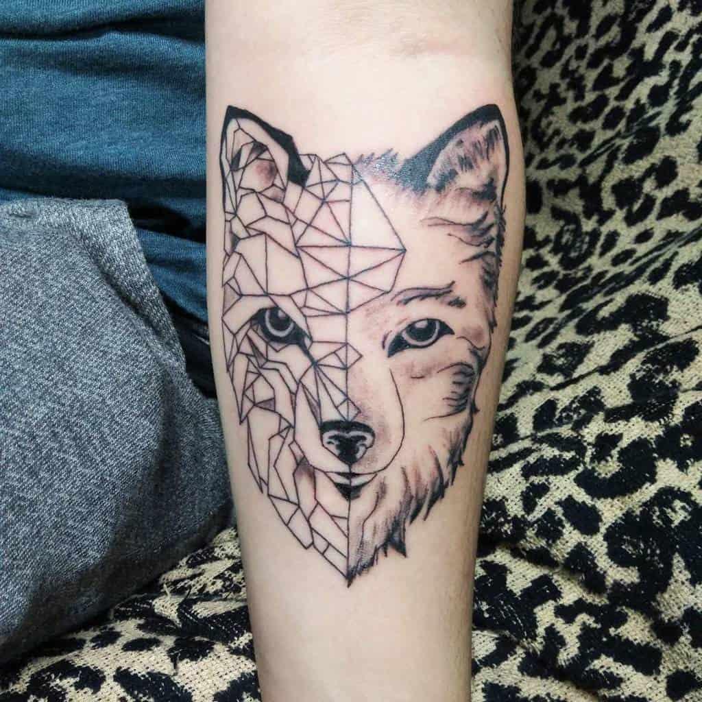 Half Geometric Fox Tattoo andy_nio