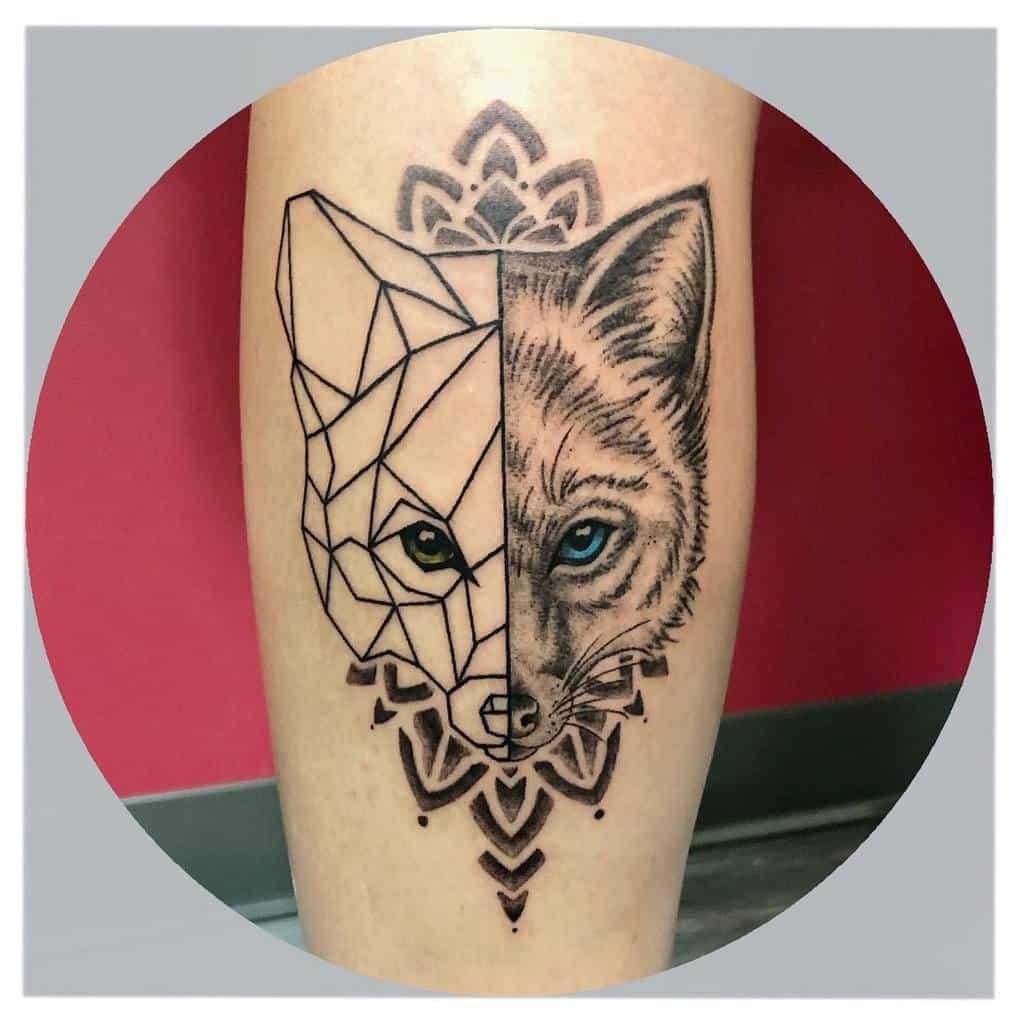 Half Geometric Fox Tattoo justineproulx