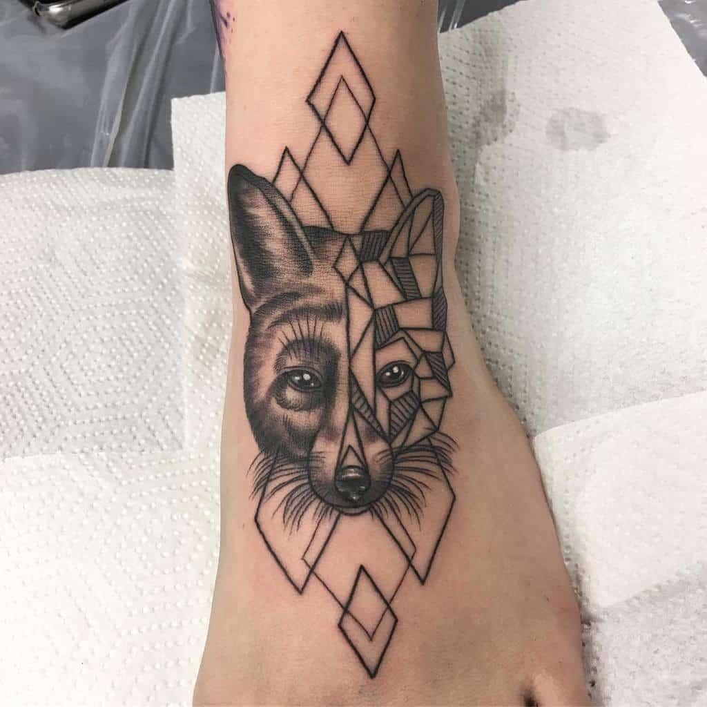 Half Geometric Fox Tattoo stephanie_melbourne