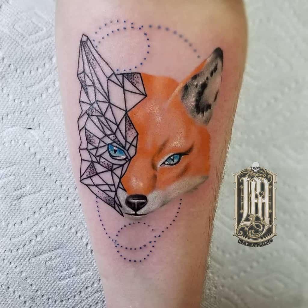 Half Geometric Fox Tattoo tattoos.by.rey
