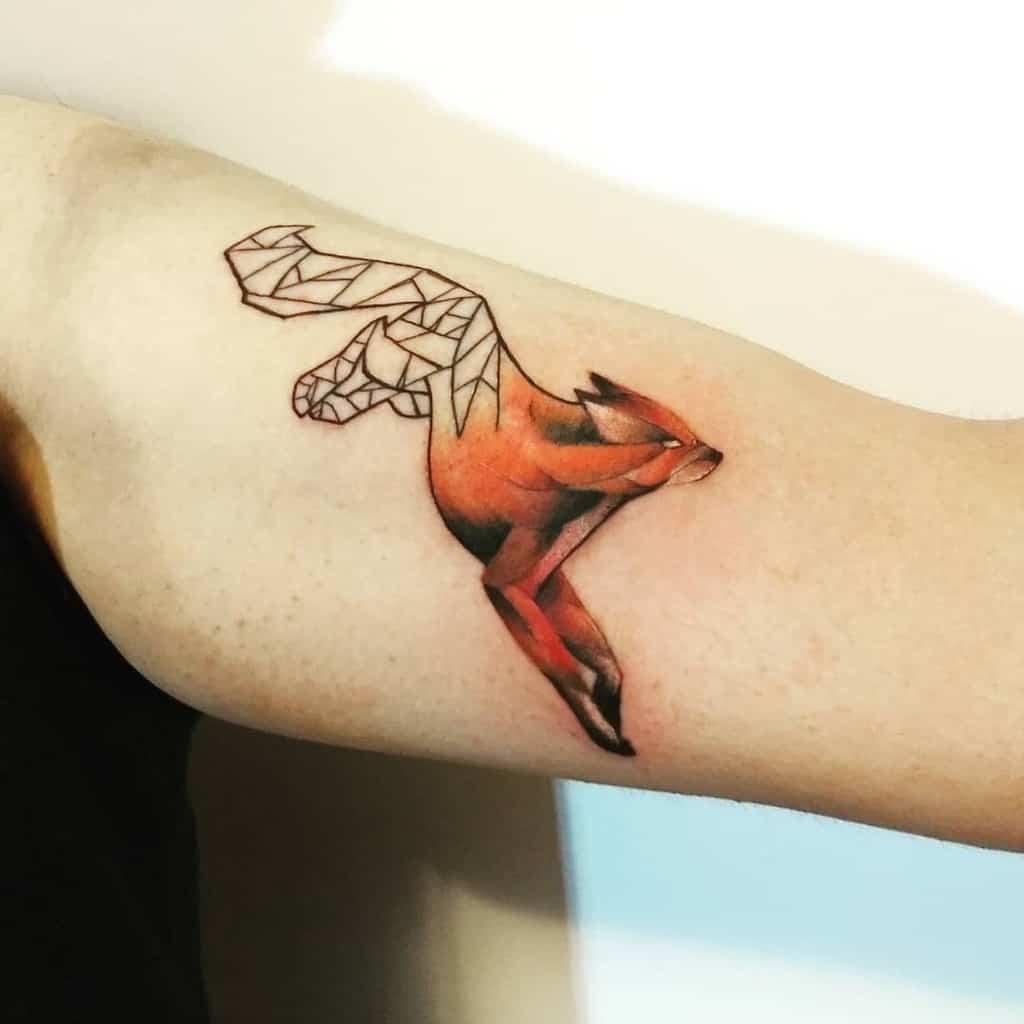 Half Geometric Fox Tattoo vjtoledo_ink
